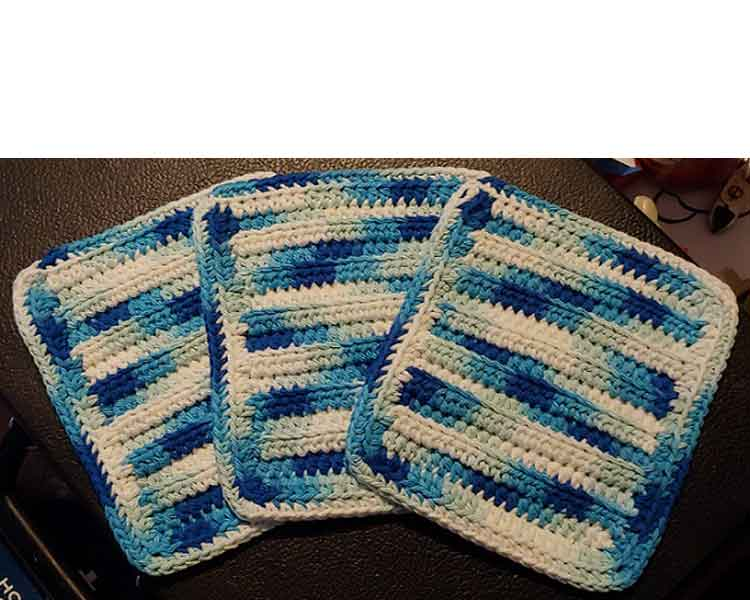 Cotton Crochet Washcloth Set